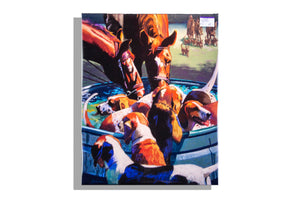 Dogs, horses drinking print by Debbie Graviss