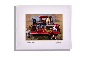 "Matted, signed by artist Debbie Graviss ""Tailgate Party"""