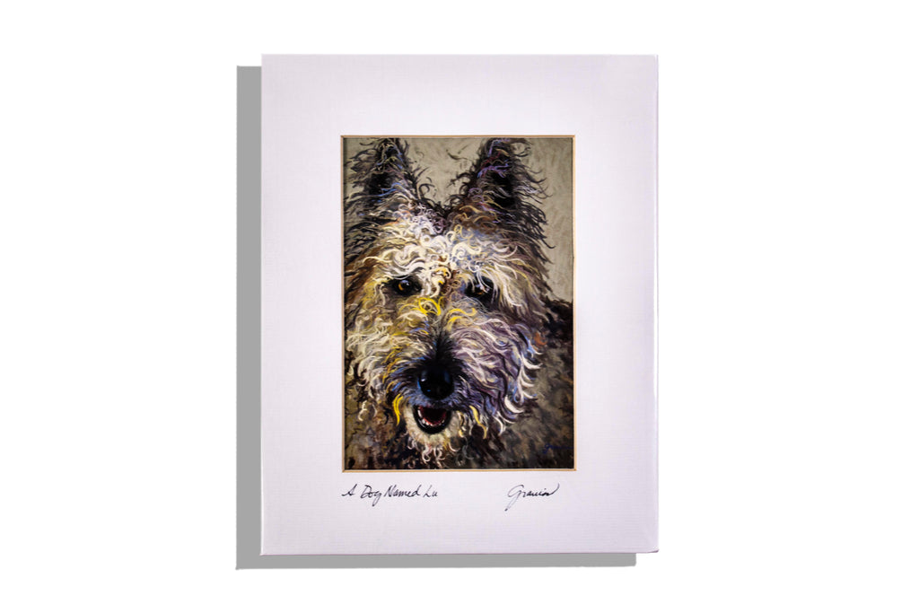 A Dog Named Lu matted, signed print by Debbie Graviss
