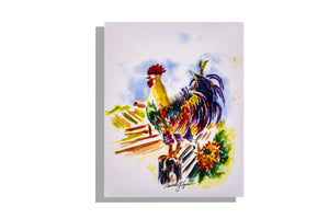 Rooster on fence watercolor print by Dinah Tyree