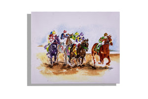 Horse racing print, watercolor by Dinah Tyree