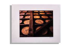 Barrel house, color, matted in white, signed