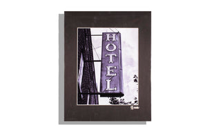 Black and white photo of old hotel sign, Lawrenceburg, KY