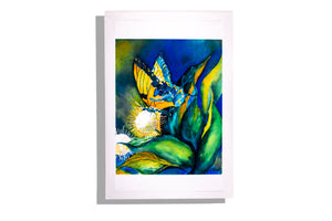 """Butterfly On Plant"" by Kathy Wood - Ltd. Ed Signed Art Print (Unframed)"