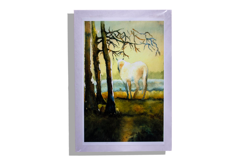 Unframed print white horse with trees