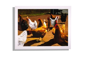 Chickens in the barnyard 2013 print