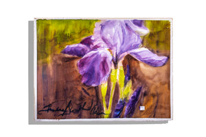 Purple and white iris original unmatted painting