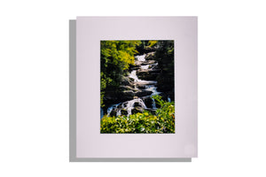Color waterfall photo matted white