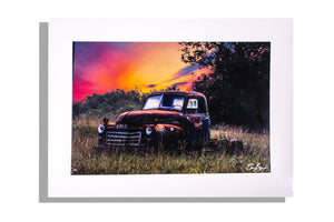 Photo print of vintage truck at sunset, matted white, signed
