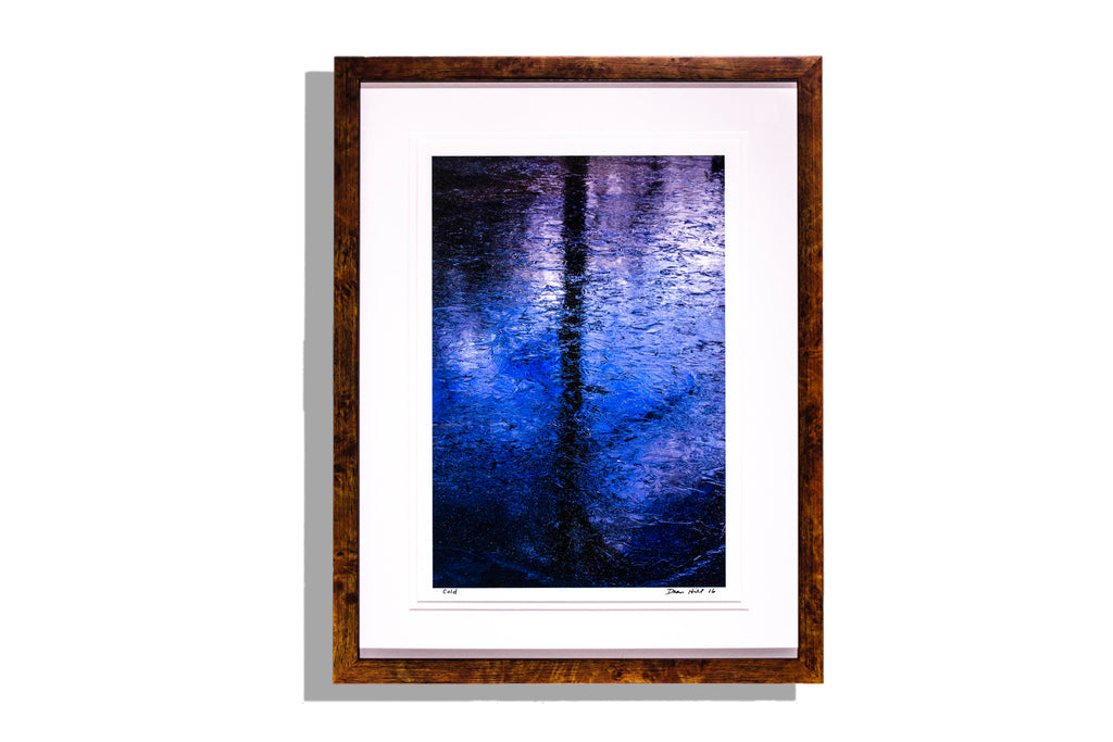 """Cold"" photo in shimmering blues by Dean Hill, signed, framed"