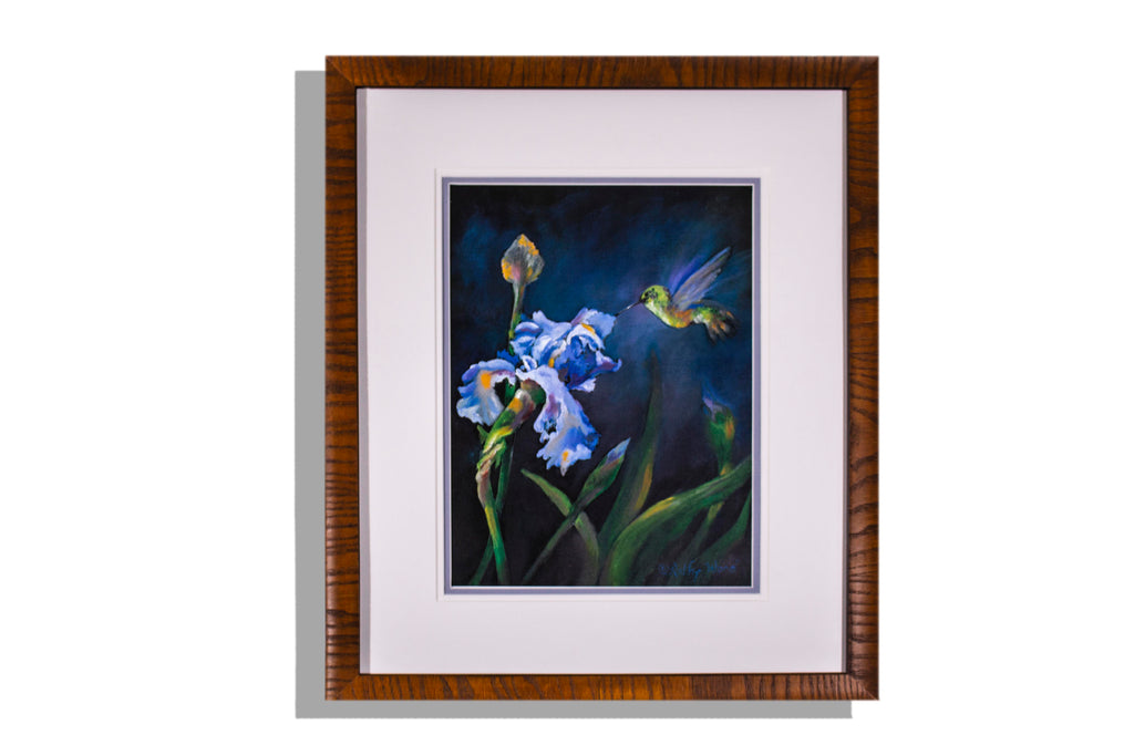 Hummingbird and irises framed, matted