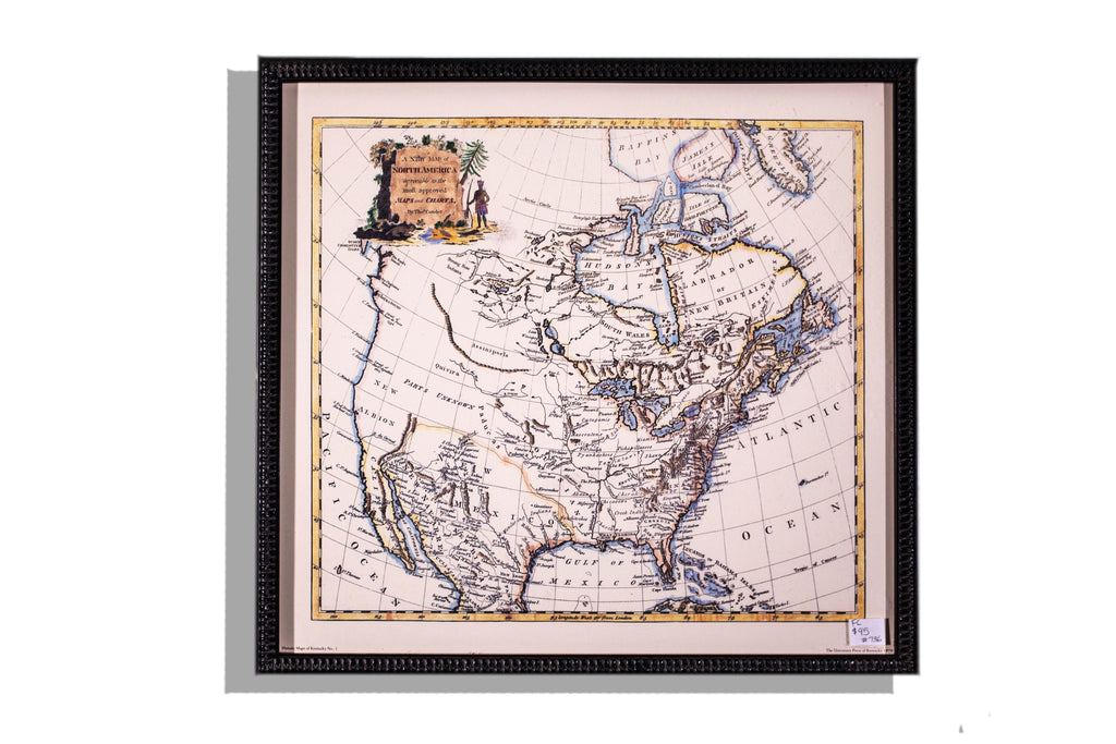 Old print of North America map, framed in black