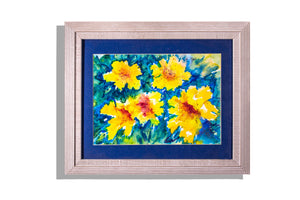 "Original framed watercolor ""Five Yellow Daffodils"" by Marilyn Pfarsfiel"