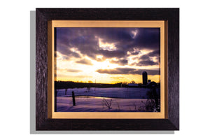 Silo, sun w/clouds in winter framed photo