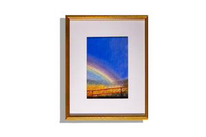 Rainbow original oil pastel framed and matted in white, artist unknown