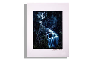 Waterfall in forest color photo, signed, matted white