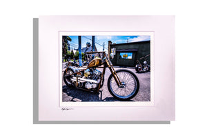 Motorcycle photo, matted in white, signed