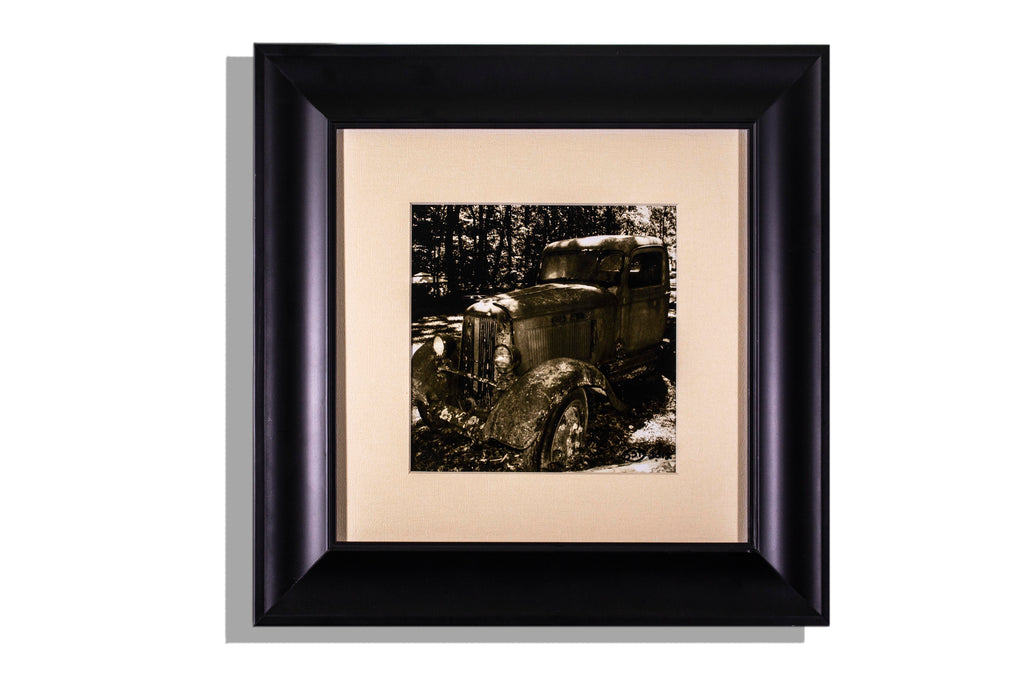 Abandoned truck sepia photo, framed w light tan mat