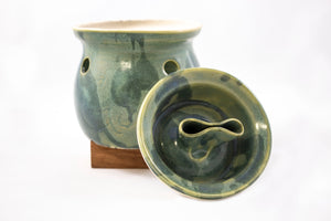 Vintage garlic baker, green pottery, lidded