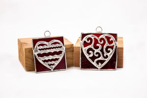 Red heart stained glass squares VINES