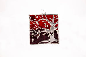 Red background tree stained glass