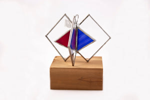 Geometric stained glass standing multicolored