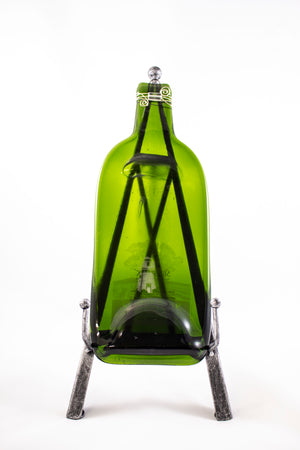 Lg olive green slumped bottle w lighthouse accent