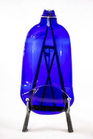 Large Blue Slumped Wine Bottle | Lee Roher
