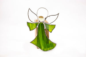 Stained glass hanging/flat angel LT GREEN