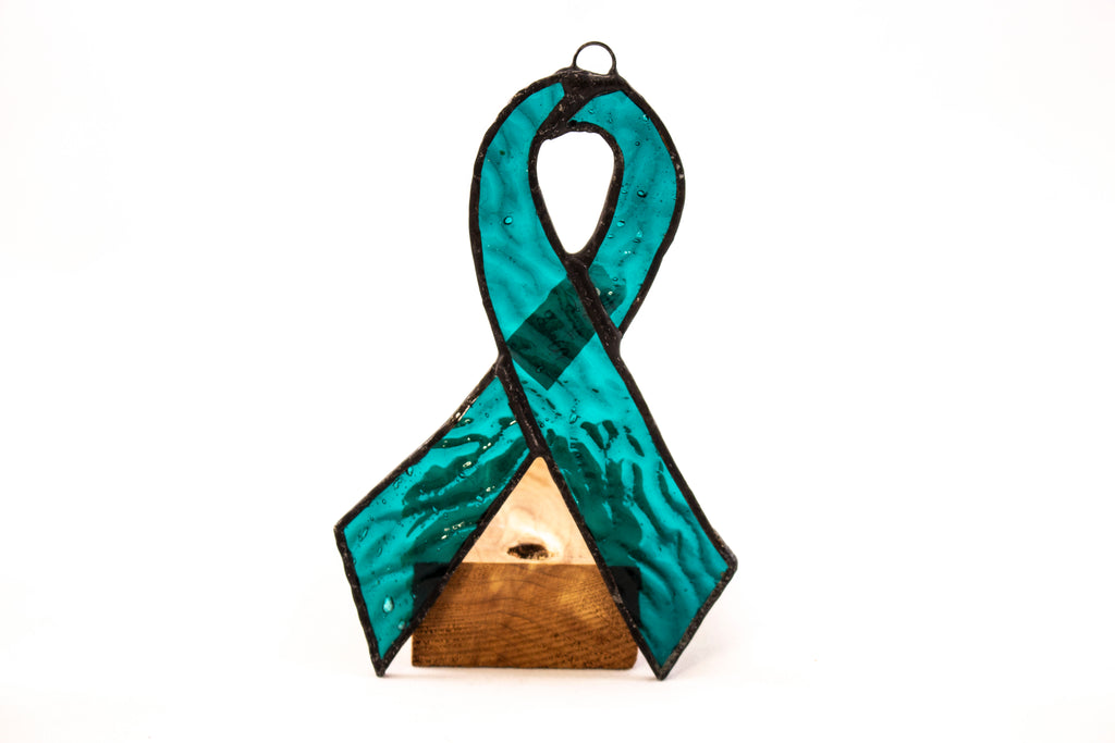 Stained Glass Turquoise Ribbon — Ovarian Cancer Awareness | by Lee Roher