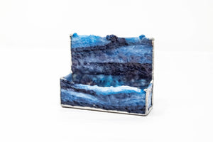 Glass business card holder, black, blue, white by Lee Roher