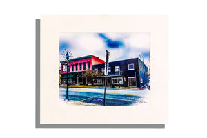 downtown Lawrenceburg scene, photo signed and matted in white