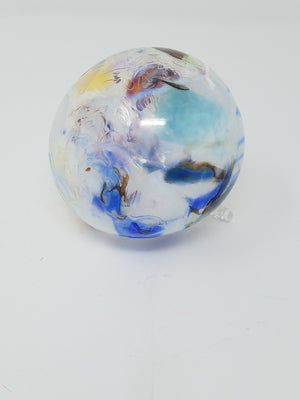Multicolored round ornament/art, glass