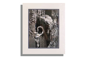Ice on metalwork photo matted in white and navy