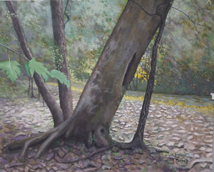 Leaning tree original oil painting