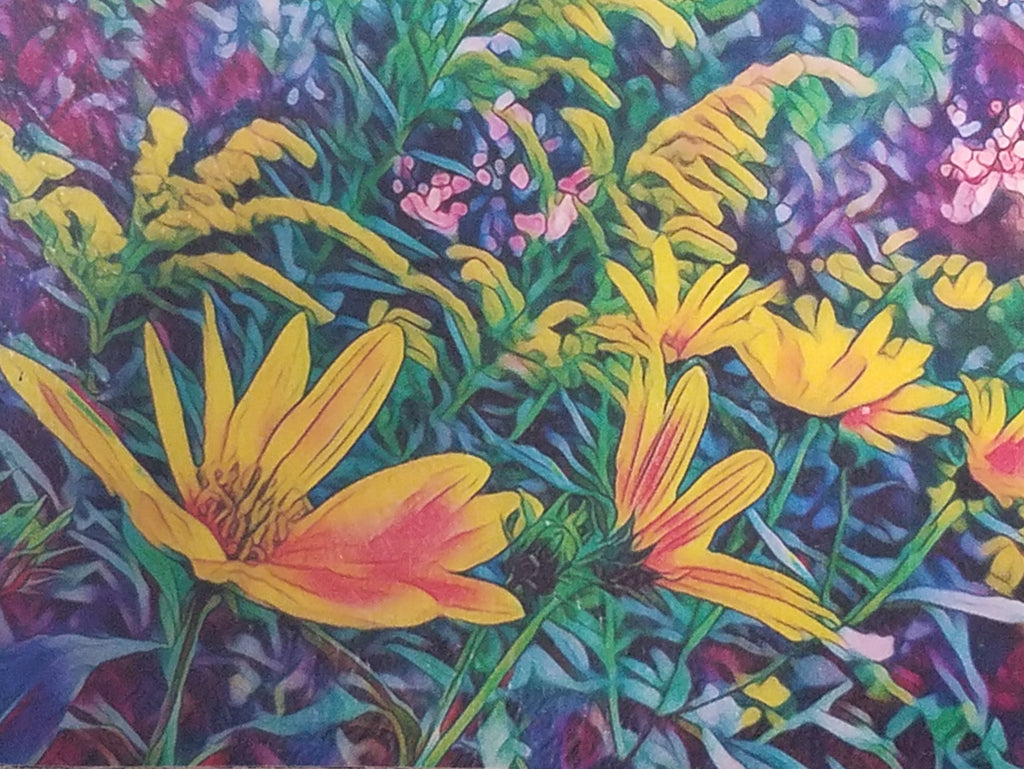 Wood block with wildflowers yellow/orange