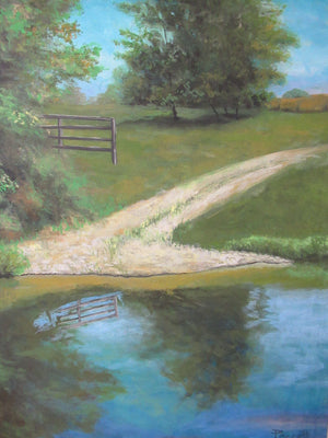 Farm path original oil painting on canvas
