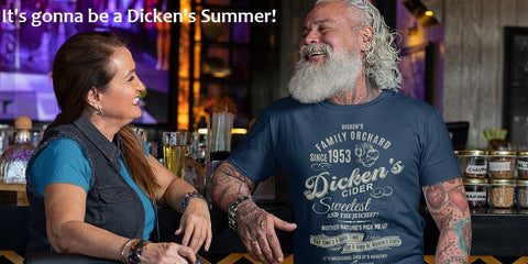 Dicken's Cider Tee on Guy at the Bar