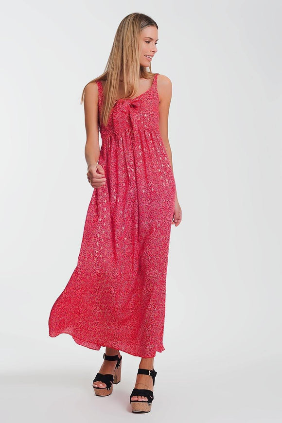 Floral Tie Front Maxi Dress from Q2 at Moosestrum.com