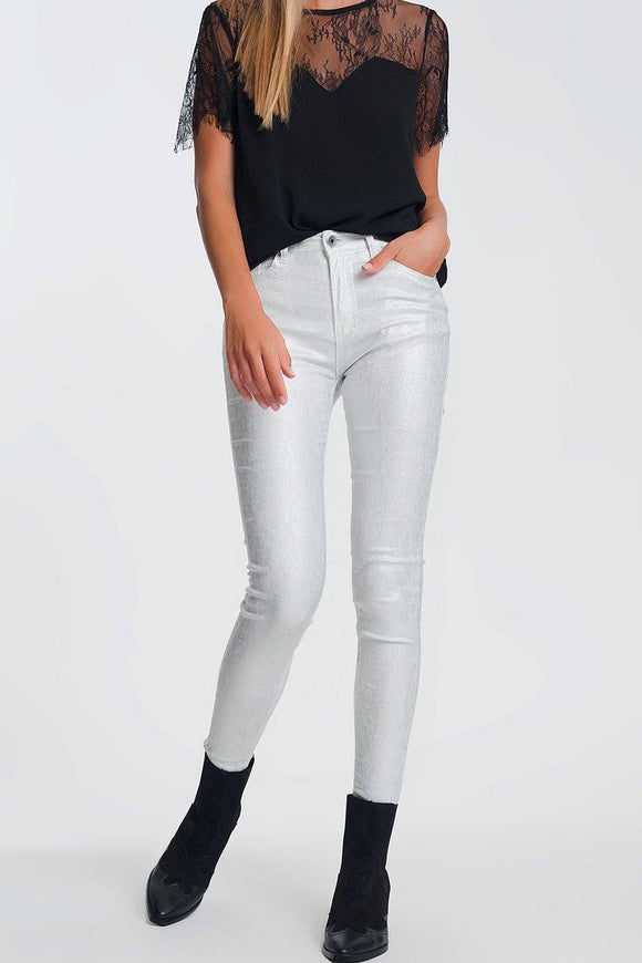 Super Skinny High Waisted Pants with Silver Sparkle