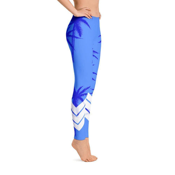 All Day Comfort Blue Venture Pro Palm Life Leggings, from Find Your Coast Apparel at Moosestrum.com