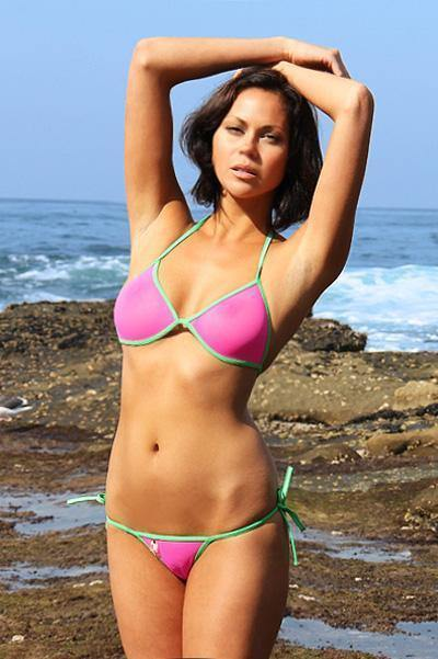 Watermelon See Through Mesh Tie Thong Bikini, from FreshKini at Moosestrum.com