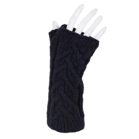 Cable Knit Australian Merino Wool Fingerless Gloves