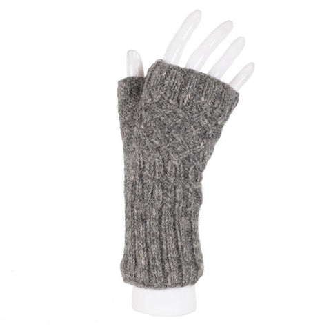 Ribbed Cuff Cabled Knit Australian Merino Wool Handwarmers