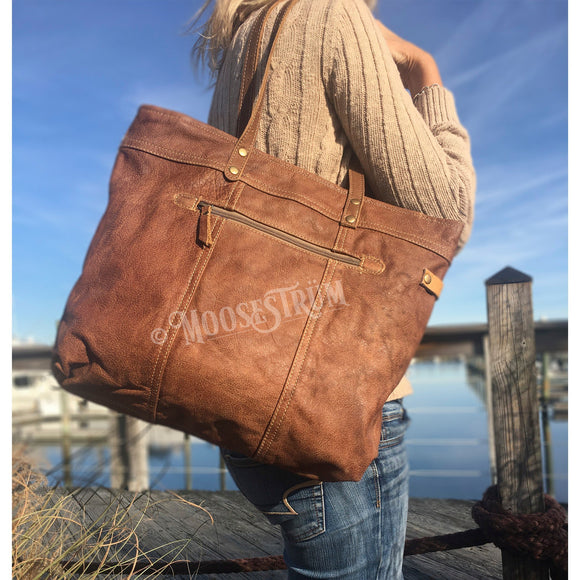 All Leather Shoulder Bag, from The Brooklyn Bag Company at Moosestrum.com