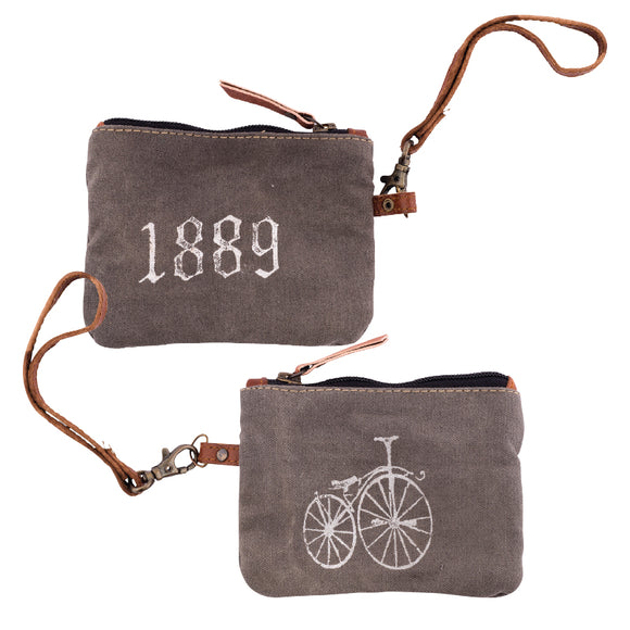 1889 Bike Double-Sided Coin Pouch from The Brooklyn Bag Company at Moosestrum.com