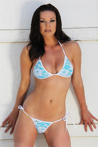White & Turquoise Lace Tonga Tie Thong Bikinis, from FreshKini at Moosestrum.com