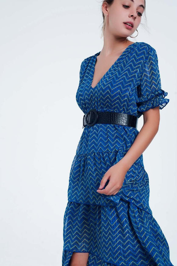 Blue Tiered Maxi Dress from Q2 at Moosestrum.com