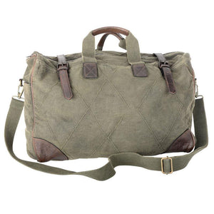 GREEN CANVAS WEEKENDER BAG