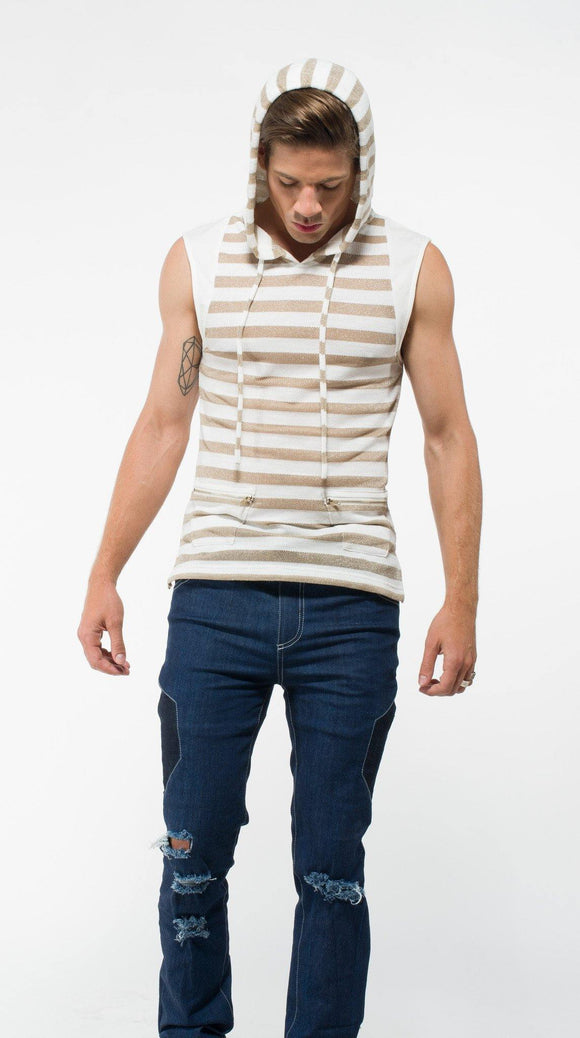 Sleeveless Gold Striped Hoodie from Uwi Twins at Moosestrum.com